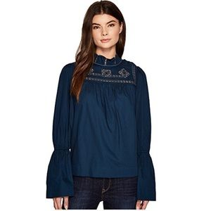 NWT Free People | Teal Blue Bell Sleeve Blouse L